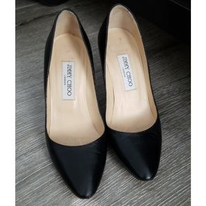 JIMMY CHOO Black Leather Almond Toe Heel